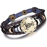 Infinite U Bracelet Tressé Rétro Multi-Rangs Les Douze Signes du Zodiaque en Alliage et Cuir Brun Sombre pour Femme Homme