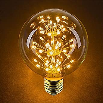 Bombilla de Iluminación Vintage, EONHUAYU 3W G95 Bombillas LED con E27 Tornillo Regulable Vintage Edison Friework 200V Bombillas Decorativas 2200K Blanco ...