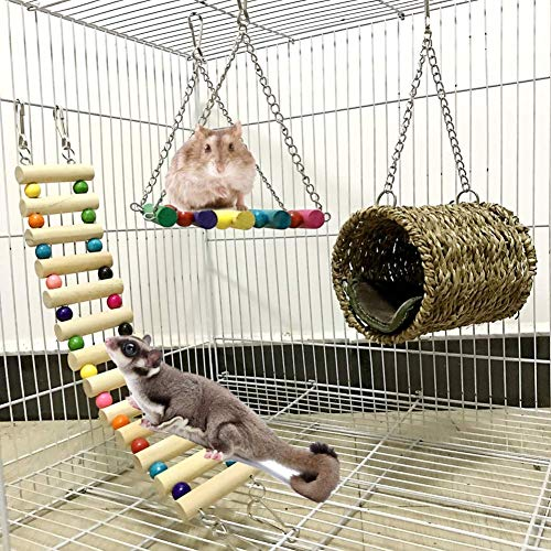 Dricar Hamster Chew Toys, Small Pet Chew Toys Molar Toy Natural Pine Wooden Dumbbells Hammock Ladder Bridge Fence for Chinchilla Guinea Pig Gerbil Chinchilla Rodents