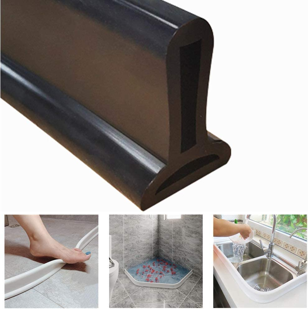 Self-adhesive Door Bar Dry Wet Separation Bath Blocker Sealing Strips FANQIE Collapsible Threshold Water Dam 100cm White Bathroom Water Stopper