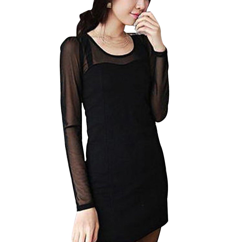 DDOL Women's Long Sleeve Mesh Party Mini Sheath Dress