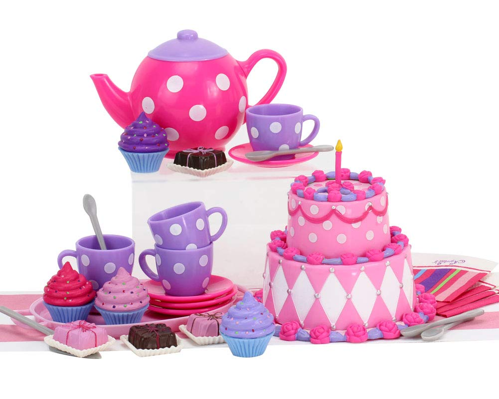 18 Inch Doll Tea Party & Dessert Play Food Set, 25 Pc. Doll Accessory Set Perfect for 18 Inch American Girl Dolls & More! Mini Doll Food Set | Sized for Dolls