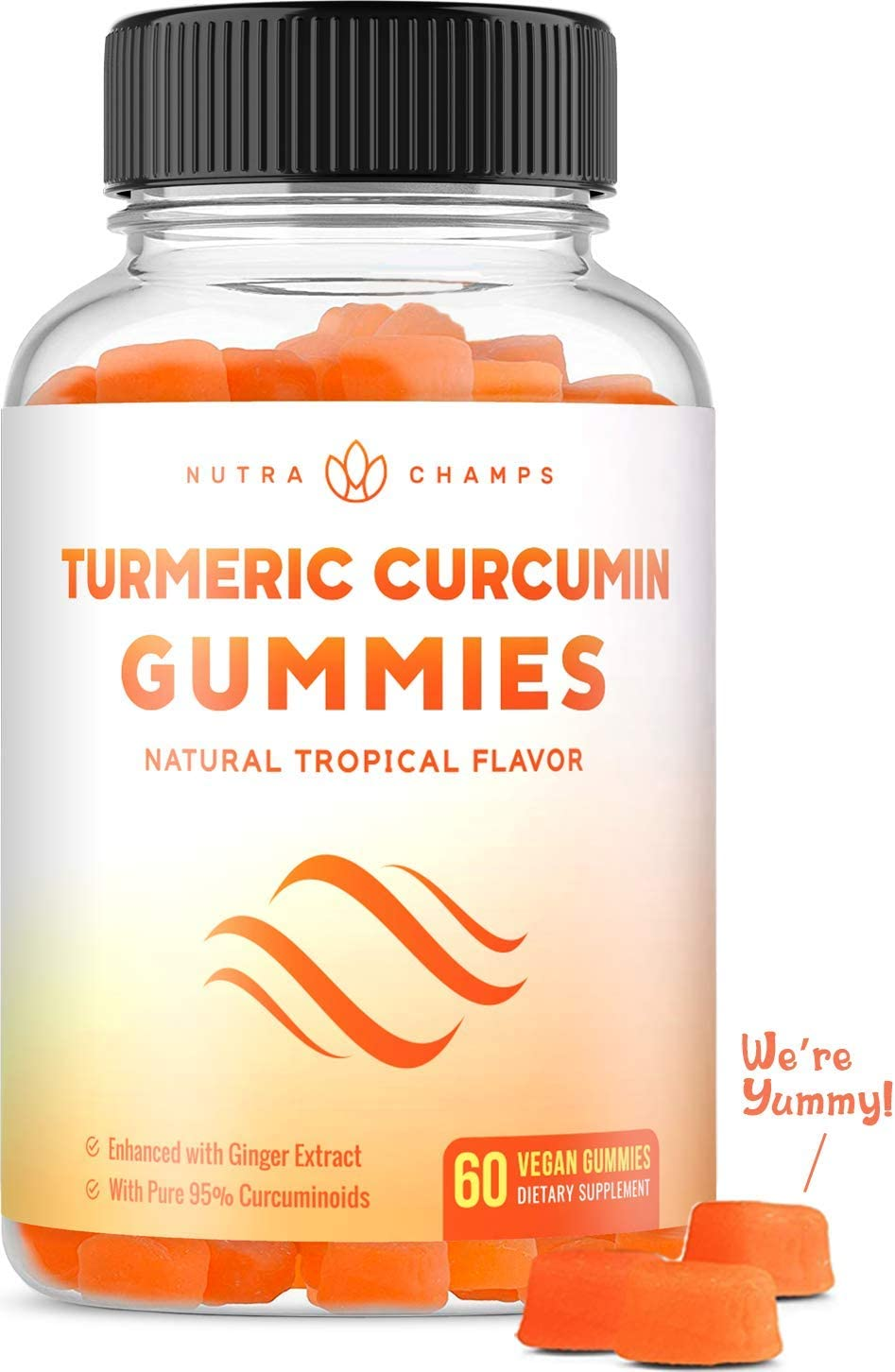 Turmeric Curcumin with Ginger Gummies - Delicious Natural, Vegan, Pectin-Based Gummy Vitamin Supplement for Adults & Kids [95% Standardized Curcuminoids] Inflammation, Joint Support & Overall Health