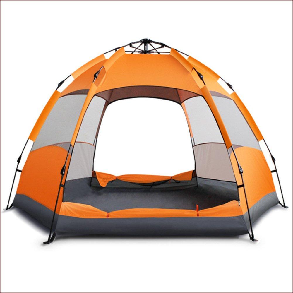TY&WJ Campingzelt Vollautomatische,Double Layer Hexagon Großes Zelt Reise Outdoors Kuppelzelte Regendichte Grillmöglichkeiten Und Grill Tipi