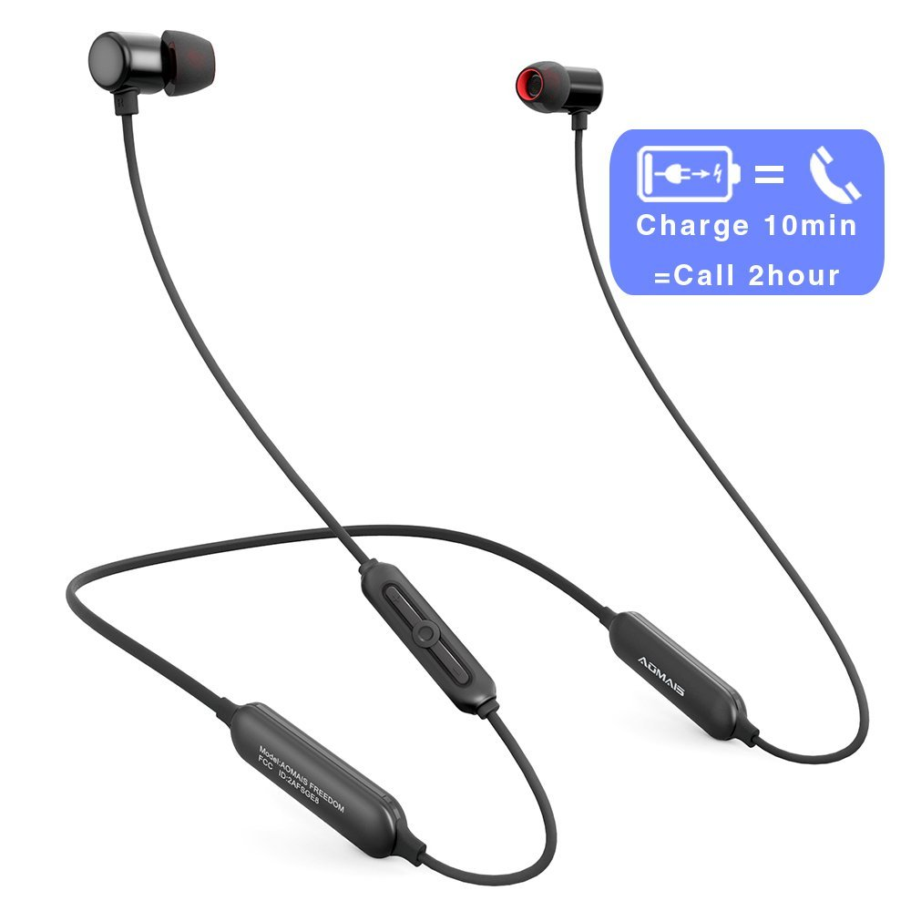 AOMAIS Bluetooth Wireless Headphones, Wireless Sports Neckband Earphones, Lightweight In Ear Earbuds, Waterproof IPX6, Fast Charge, 12 Hours Playtime, Secure Fit Magnetic Headset for Gym by AOMAIS