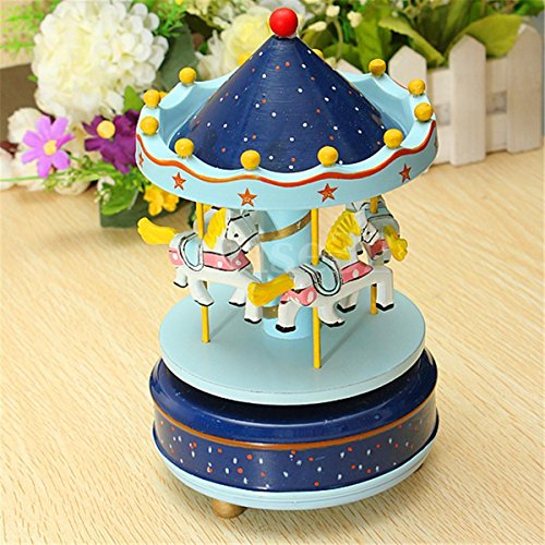 Platics Wooden Carousel Horse Merry-Go-Round Music Box Wedding Birthday Gift Toy
