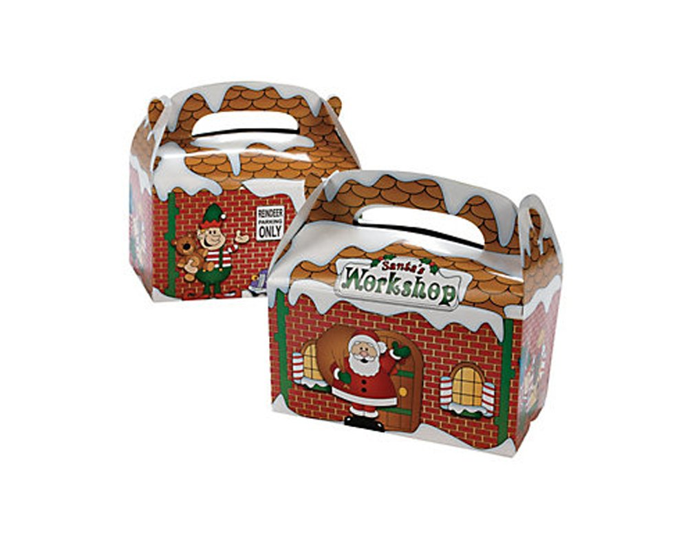 12 Santas Workshop Treat or Party Food Lunch Boxes | Kids Party Tuck Boxes
