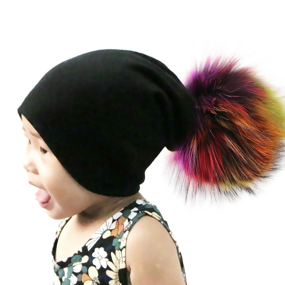 221241d8577 Amazon.com  GZHILOVINGL Slouchy Beanie Hat with Colored Fur Pom Pom for Baby  Girl Kid Child  Clothing