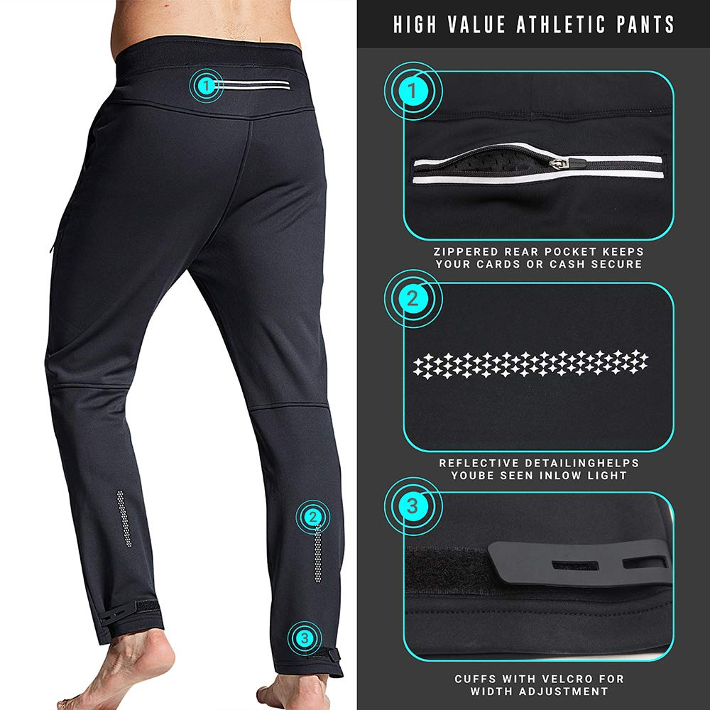 for Hiking Running Skiing and More Black Built-in Vents Soft Thermal Athletic Pants with Fleece Lined Windproof,Water-Repellent Souke Sports Mens Winter Bike Cycling Pants