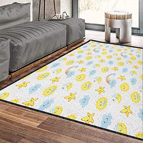 Kids Indoor Modern Area Rug,Happy Smiling Moon and Stars Good Morning and Night Rainbows Funny Clouds Non Slip Absorbent Super Cozy Yellow Baby Blue Pink 71