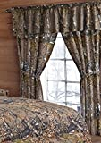 Camo Curtains 20 Lakes Woodland Hunter Camo Valance, Panels, & Tie Backs Curtain Drape Set Five Pieces (Brown)