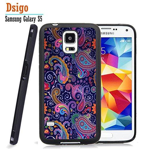 Galaxy S5 Case, Samsung S5 Black Case, Dsigo TPU Black Full Cover Protective Case for New Samsung Galaxy S5 - Paisley Retro Vintage Aztec (New Black Paisley)
