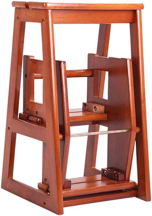 SHKUU Taburete de Escalera Plegable de Madera de 3 Pasos para niños/sillas de escaleras para Adultos Estante portátil de Madera Maciza en Forma de Estante/escalón, Altura 64 cm / 74 cm, marrón: