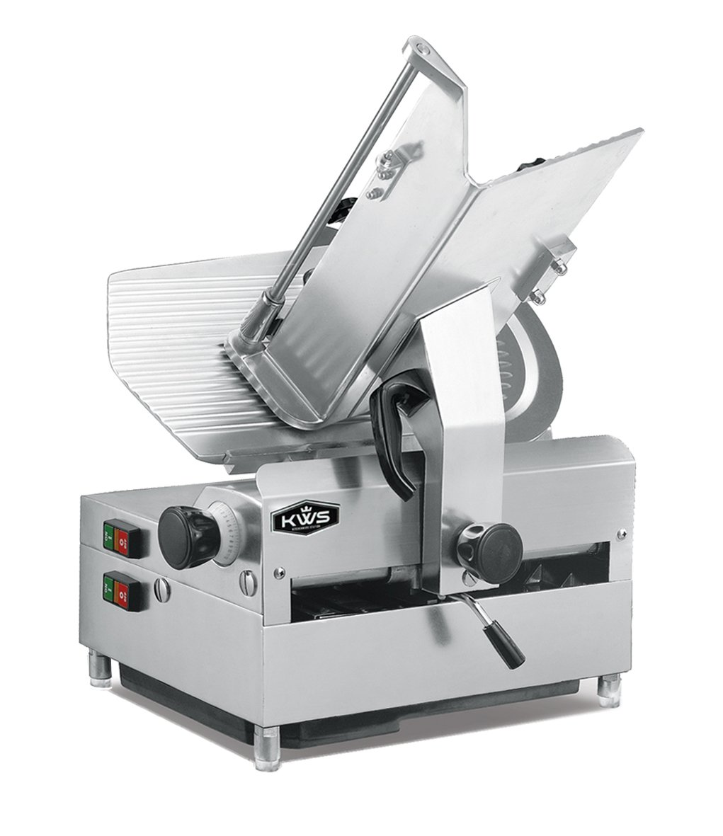 KWS Automatic Commercial 1050w Electric Meat Slicer 12'' Stainless Steel Blade, Frozen Meat, Food Slicer/Low Noises