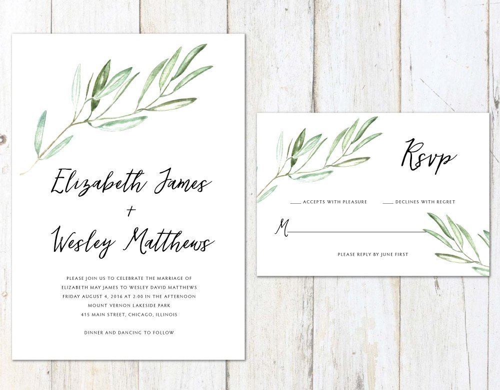 Tuscan Wedding Invitation, Rustic Wedding Invitation, Watercolor Olive Branches, Vineyard Wedding