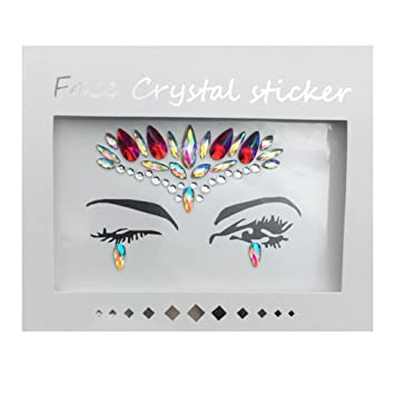 QingZhou  Face Gems Stickers Jewels Face Makeup Stickers Temporary Tattoo   Glitter Rhinestone Adhesive Stickers a771c720bd2c