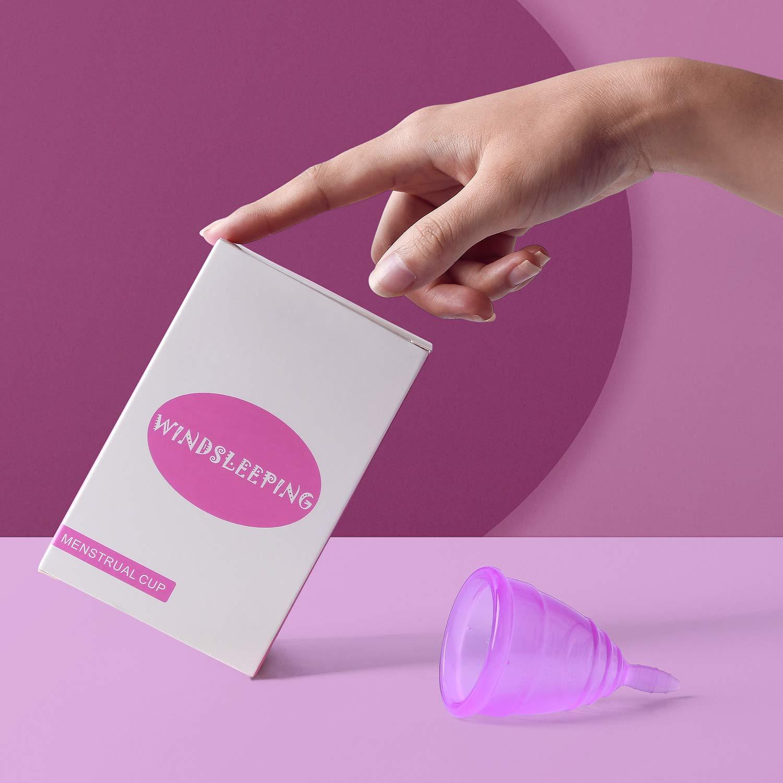 Windsleeping Paquete de 2 tazas menstruales, certificado por la FDA, taza vaginal de higiene femenina, flujo menstrual pesado - tamaño grande: Amazon.es: ...