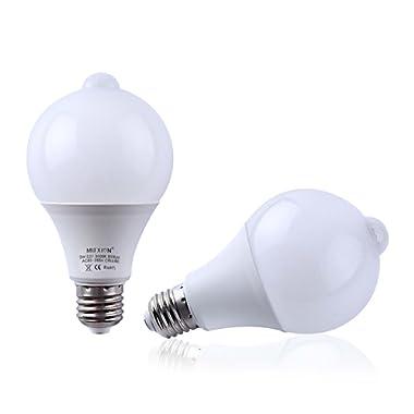 2-Pack Motion Sensor + Light Sensor Bulb, 7W 630Lumens E27 Base PIR LED Lamp and Dusk to Dawn Auto Switch Light Bulb for Stairs, Garage, Corridor, Walkway, Yard, Hallway, Patio, Carport - Warm White