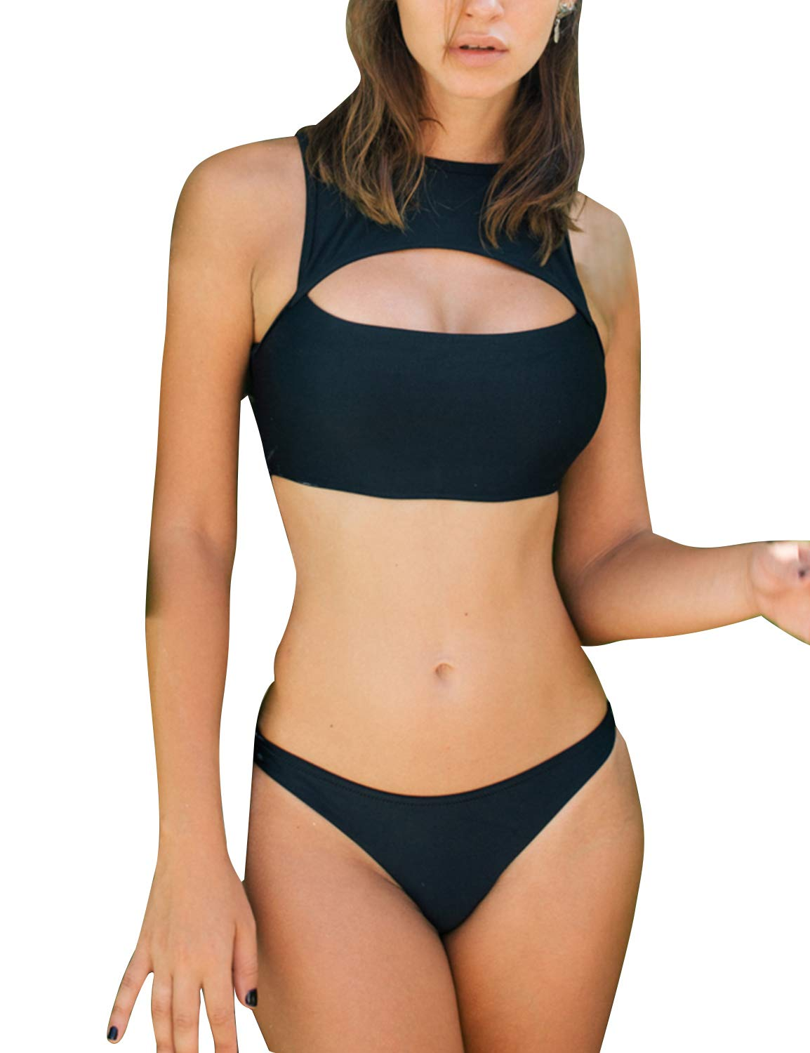 MAY Womens Cutout Bikini Set High Neck Open Back Two Piece Swimsuit High Rise Thong Cheeky Swimwear Black