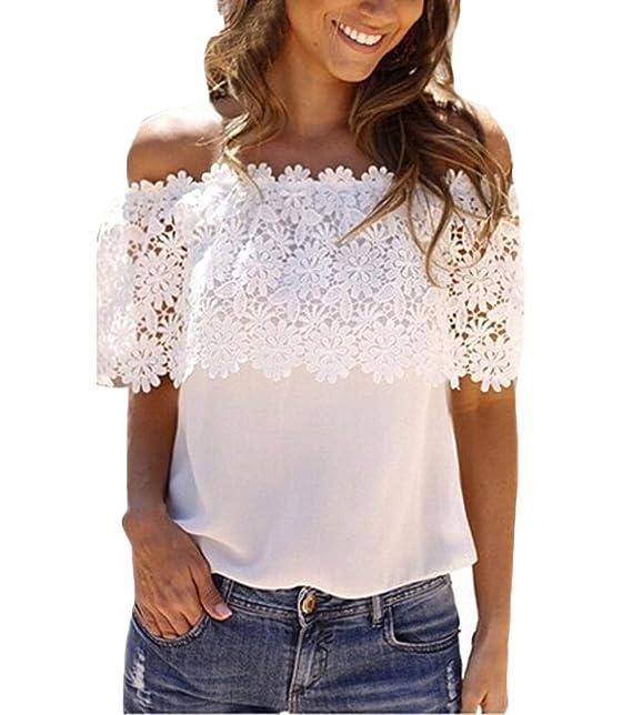 Mujer Camisetas Elegante Verano Chiffon Encaje Barco Cuello Dulce Lindo Chic Corta Tops Color Sólido Casual