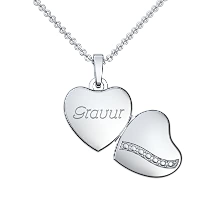 Kette mit Gravur Silber 925 ❤ Herz Medaillon zum Öffnen für 2 Bilder Foto  mit 83e6d594ce
