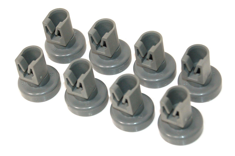 8 x Dishwasher Universal Upper Basket Wheels (for Electrolux, Zanussi, AEG, Favorit, Juno, Privileg, Fortschritt Quelle) - Class A +++ by RIVENBERT