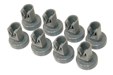 Universal Juego de ruedas para cesta inferior de lavavajillas - 8 unidades (for Electrolux, Zanussi, AEG, Favorit, Juno, Privileg, Fortschritt Quelle) by RIVENBERT