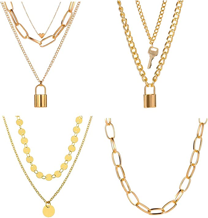 4PCS Layered Lock Chain Necklaces Set for Women Teen Girls,14K Gold/Silver Plated Bar Disc Coin Lock Pendant Multilayer Adjustable Punk Chain Choker Y Necklace