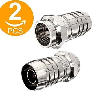 Lot de 2adaptateurs ACT - Pour câble satellite TV coaxial - Connecteur convertisseur type F à prise mâle RF coaxiale