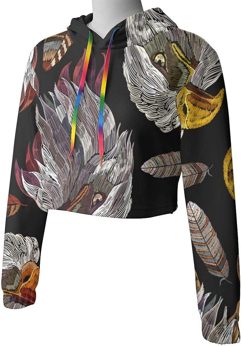 Womens Hoodie Sweater Tribal Feather Eagle Hawk Head Crop Top Sweatshirt Lumbar Sweatshirt Cropped Hoodie