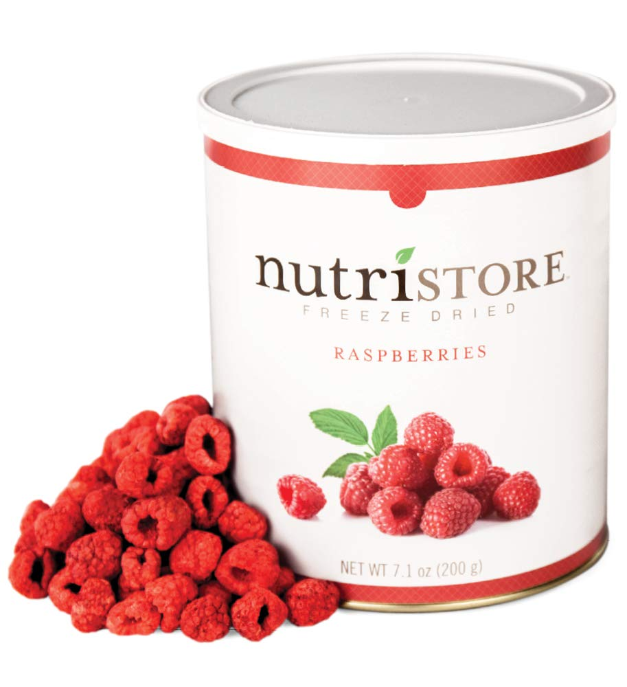Freeze Dried Raspberries, 100% Preservative Free, No Added Sugar. 200 Grams of All Natural Full Flavor Raspberry in a #10 Can Nutristore
