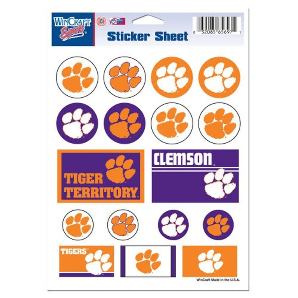 NCAA Clemson University Vinyl Sticker Sheet, 5'' x 7''