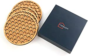 Bamboo Wood Coasters for Drinks - Stylish and Modern Four Pack of Wooden Coasters with a Hexagon Honeycomb Design. Table Coasters That Will Suit All Home Decor Styles. House Warming Presents.