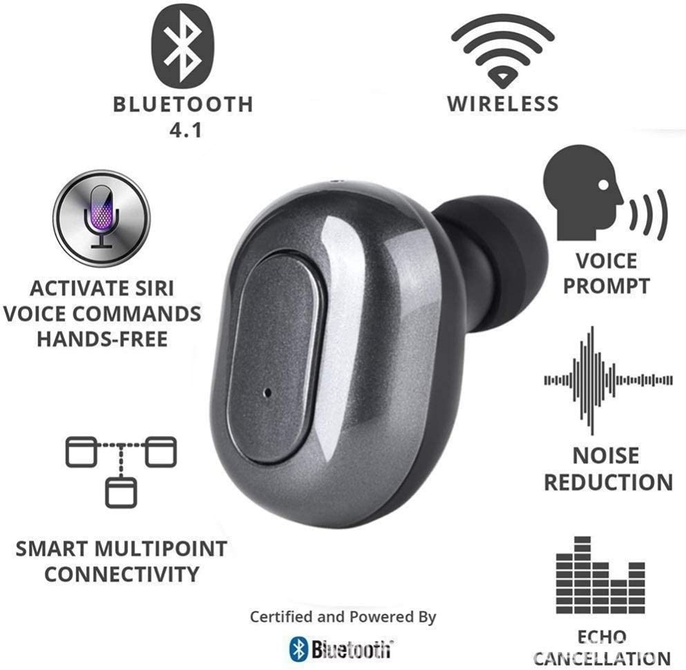 Fashion Bluetooth Earphone, Bluetooth 5.0 Wireless Earphone Mini Sports Business In-ear Earbuds, with Portable Charging Box Earphone, for Phone Laptop etc (Color : Black) White