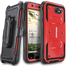 Samsung Galaxy J7 Perx Case, COVRWARE [Aegis Series] w/ Built-in [Screen Protector] Heavy Duty Full-Body Rugged Holster Armor Case [Belt Swivel Clip][Kickstand] For J7 Perx, Red