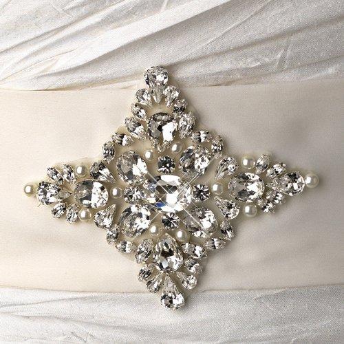 Beautiful Rhinestone & Pearl Wedding Bridal Sash Belt - White by Fairytale Bridal Accessories (Image #2)