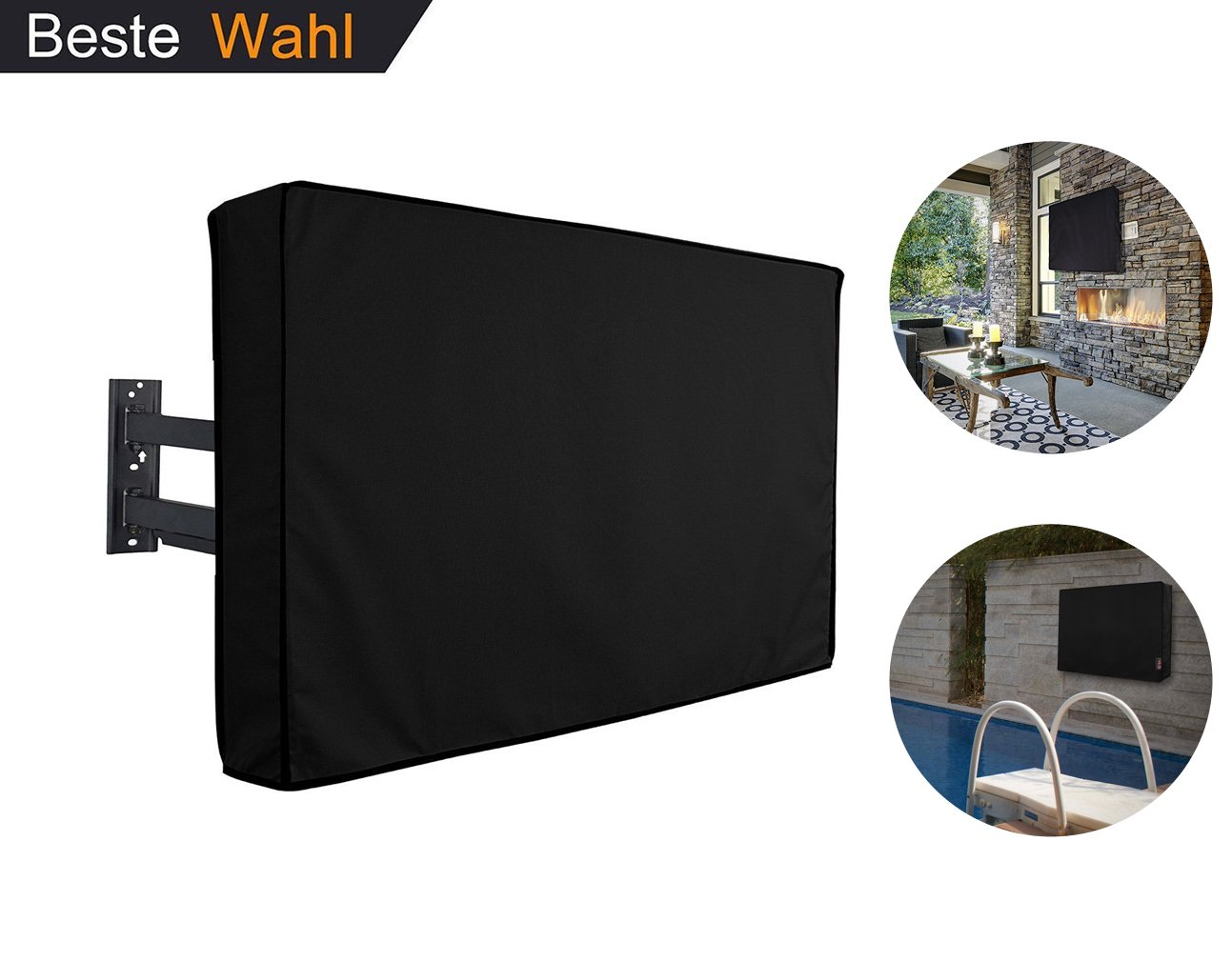 Outdoor TV Cover 52'' - 55'' 600D Oxford 360°Sealed Protection Bottom Newest Design Premium Quality