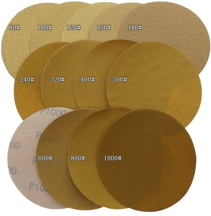 INSTO 100Pcs 5Inch Hook and Loop Gold Sandpaper Sanding Disc Aluminium Oxide 60 to 1000 Grits for Automotive Sanding,80 400