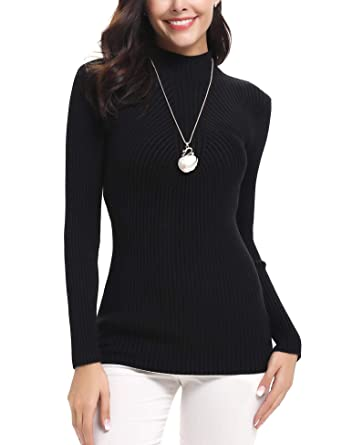 iClosam Women s Long Sleeve Solid Soft Knit Turtleneck Sweater Tops Pullover  Black 08aecd00b