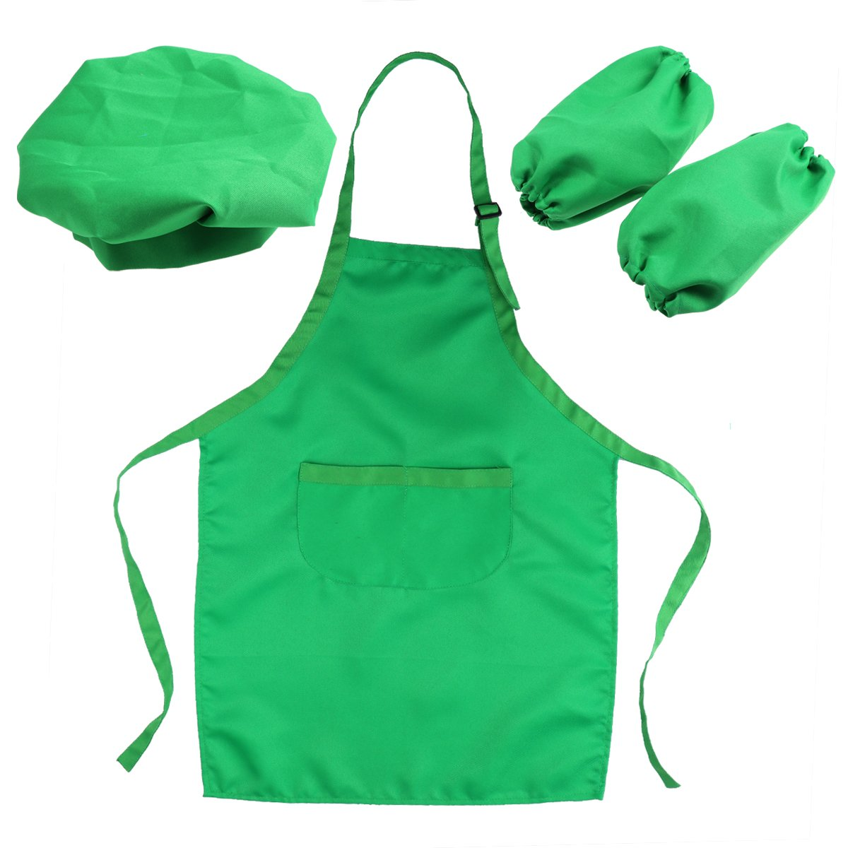 OUNONA Kids' Chef Kit - Kids Kitchen Gift Playset with Chef's Hat Apron Cooking Sleeve for Cooking(Green)