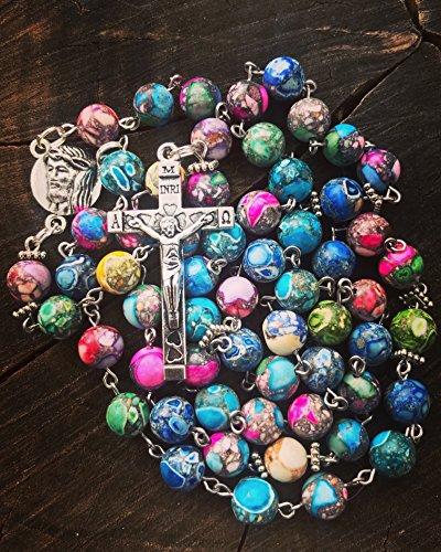 Handmade Colorful Marble Beaded Catholic Rosary Beads. Woman's Catholic Rosary. Girl's Catholic Rosary. ()