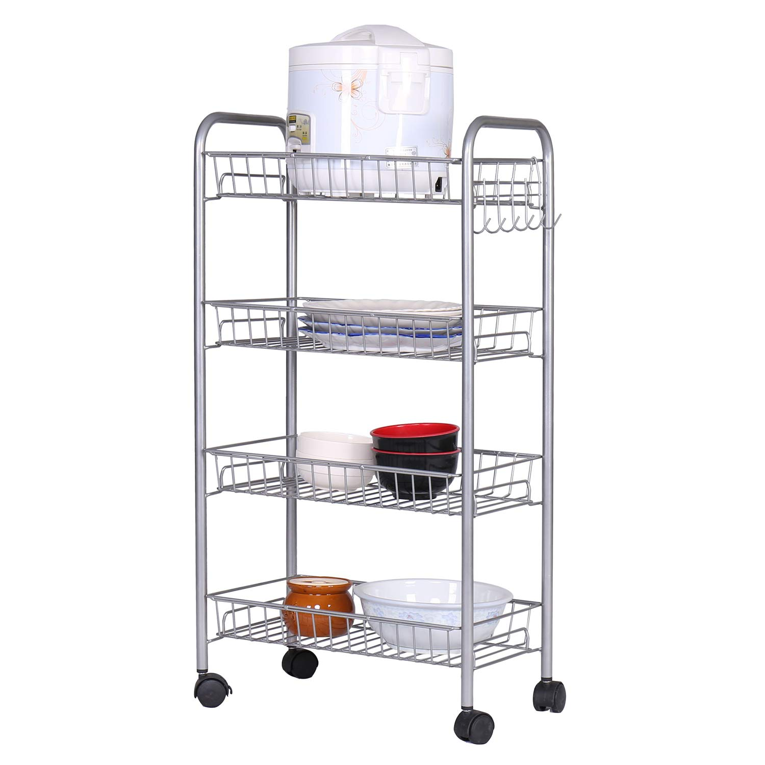 HOME BI 4-Tire Mesh Wire Rolling Cart on Wheels, Lockable Utility Cart Basket Stand with Removable Shelves and 6 Hooks for Kitchen Bathroom Closet Organization