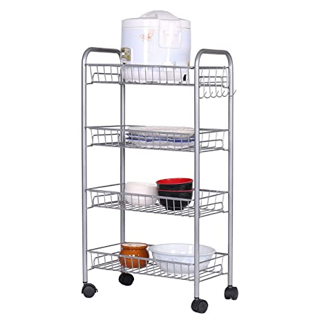 amazon com home bi 4 tire mesh wire rolling cart on wheels rh amazon com wire pull out shelves rolling wire shelves home depot