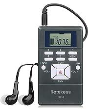 Retekess PR13 Receptor de FM Portátil Mini Reloj Digital de Radio Estéreo con Auriculares para Conferencia Conferencia de Audición de Interpretación Simultánea, Equipo de la Guía(Gris)