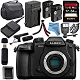 Panasonic Lumix DC-GH5 DC-GH5KBODY Mirrorless Micro Four Thirds Digital Camera + DMW-BLF19 Battery + Charger + Sony 64GB SDXC Card + Carrying Case + Memory Card Wallet + Tripod + Flash Bundle