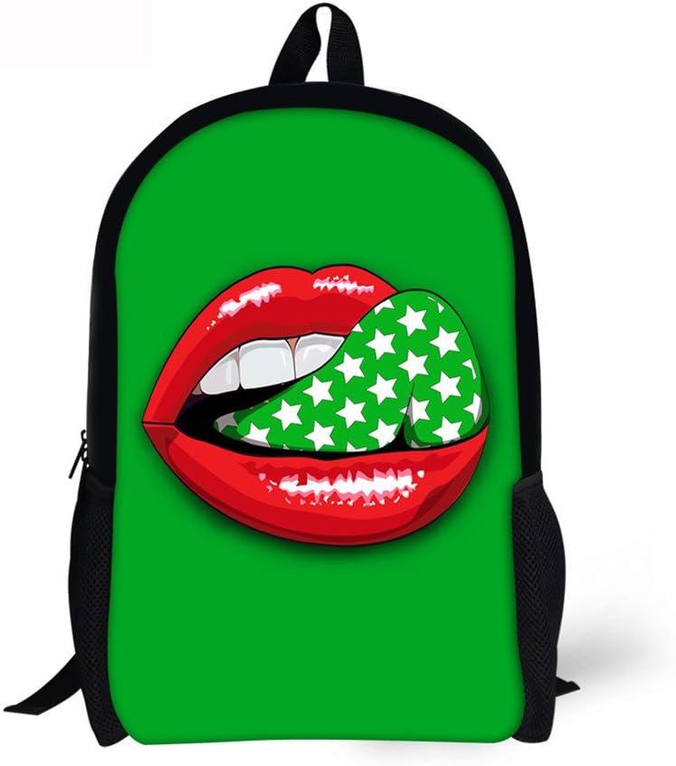 Horeset Casual Backpack Lightweight Daykpack School Bag Lips Printng Travel Shoulder Bookbags for women girls boy men teen 3