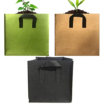 EIIORPO Plant Bags 3 Pack Colorful Mix, Durable Grow Bags 3/5/7/10/20 Gallon Nonwoven Aeration Fabric Pots with Handles, Square Grow Containers for Vegetable/Flower/Nursery. (3-Pack-5 Gallon) : Garden & Outdoor
