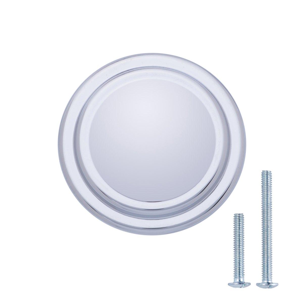 Basics - Pomolo liscio con bordo ad anello per mobili, Diametro: 3,17 cm, Cromo lucido, Confezione da 10 pezzi AB700-PC-10