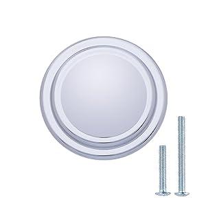 "AmazonBasics (AB700-PC-25) Straight Top Ring Cabinet Knob, 1.25"" Diameter, Polished Chrome, 25-Pack"