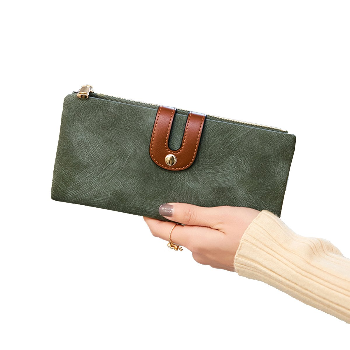Women's RFID Bifold Leather Wallet Ladies Mini Purse with Small Zipper Pocket,Soft Compact Thin Wallet